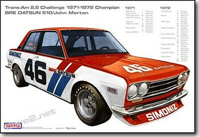 "BRE Datsun 510s with Race Stats Print (19""x13"") sold by Peter Brock BRE"