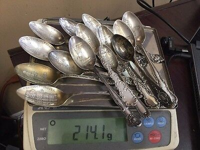 Sterling Silver Spoon .925 Huge Lot 14 Spoons Souvenir 214 grams of sterling
