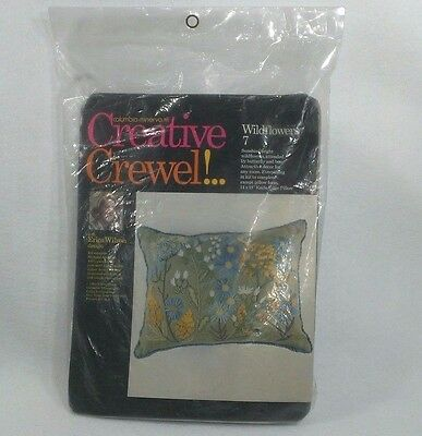 NEW Erica Wilson 1963 Crewel Embroidery PILLOW Kit -Wildflowers 7 Butterfly Bee