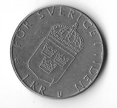 1978 Sweden 1 krona coin circulated  - Carl XVI Gustav - UK postage free