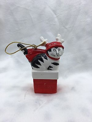 1980s B. Kliban Cat in Christmas Fire Place Ceramic Ornament - NO BOX