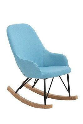 NEW Unica Kids Rocking Chair Cushion Wooden Fabric Recliner Lounge -  Blue