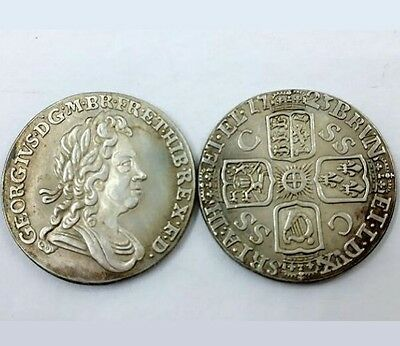 1723 King George I 6 Six Pence SILVER PLATED United Kingdom - COPY COIN