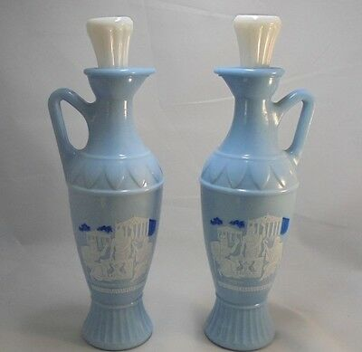 Vintage Jim Beam '61 Grecian Blue Glass Decanters-Socrates Plato Aristotle x 2