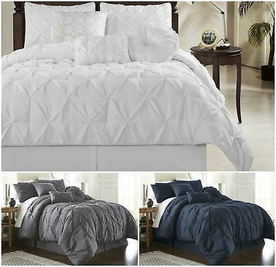 Chezmoi Collection Sydney Pinched Pleat Pintuck Bedding Comforter Set All Sizes