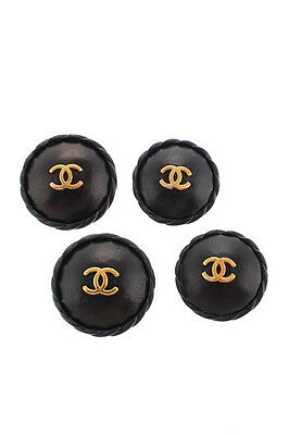 Lot 4 Chanel Black Leather 30mm 34mm Gold Tone Emblem Buttons