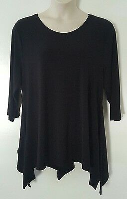 Solid Black 3/4 Sleeve Sharkbite Stretch Top Blouse Plus Size 2X