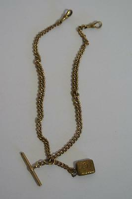 Antique Rolled Gold Double Albert Watch Chain T bar and Locket (ref165af)