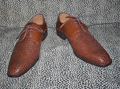 Nwob Sio Chapin-215 Cognac Brown Braided  Lace Up Shoes Men's Size 12