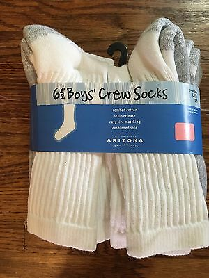 6 Pack ARIZONA Boys' CREW Socks WHITE - LARGE (Shoe size 2 - 9) - NEW in Package
