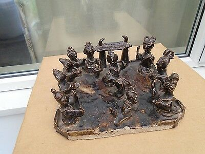 amazing ethnic clay death band tomb statue   strange curious display item  LOOK