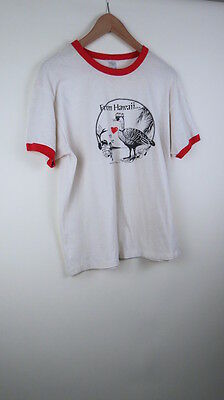 Vintage From Hawaii with Love bird 1986 Islandstar Trading co ringer t-shirt L