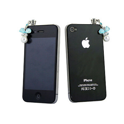 Blue Crystal Bow Tie and Pearl Headphone Jack Plug Protector 3.5mm for Cellphone