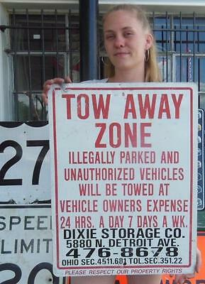 Tow Away Zone Illegally Parked Pick Up Detroit Ave. Ohio Sign Bar Rental Shop