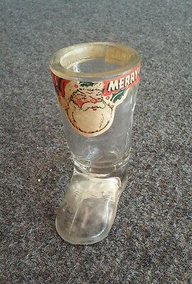 Vintage Antique Glass Candy Jar Christmas Santa's Boot cracked MERRY CHRISTMAS