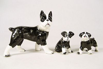 VTG Lot of 3 Fine Bone China Porcelain Boston Terrier Dog Puppy Figurines *