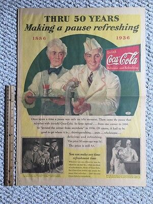 1936 Coca Cola Soda Jerk Full Page Color American Weekly Newspaper Ad !!!