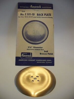 """Vintage NOS Dull BRONZE Round Knob BACK PLATE 2-3/4"""" Dia. Concave Dished Amerock"""
