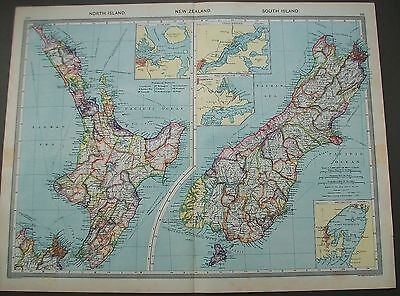 1908 New Zealand North South Island Wellington Auckland Harmsworth Antique Map