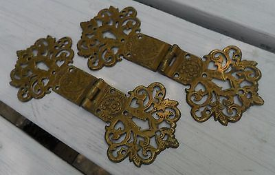 Pair of Reclaimed Brass Strap Hinges Antique Ornate Casting