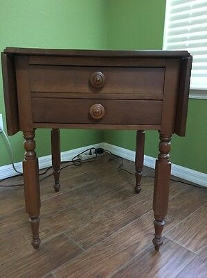 Antique Cherry Night Stand - Drop Leaf Circa 1820