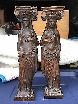 "1920's Pr 14 5/8"" Carved Wood Figural Woman Pediment"