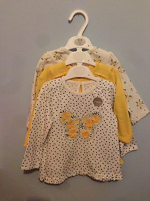 Baby Girl 6-9 Tops T Shirts Clothes Set Of 3 Yellow Floral Bnwt