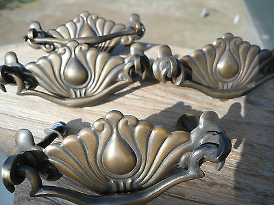 4 pull handles solid brass doors old vintage age style drops knobs Victorian age