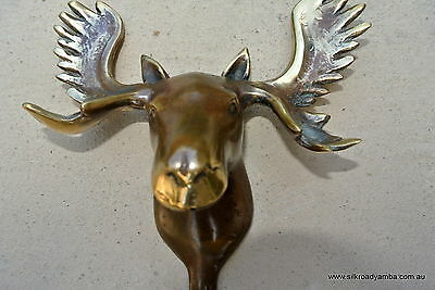 """small MOOSE COAT HOOK solid age brass antiques vintage old style 7"""" hook heavy"""