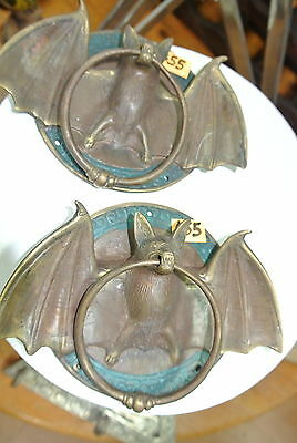 """2 used Door Knocker BAT ring old heavy front SOLID BRASS vintage style 7"""""""