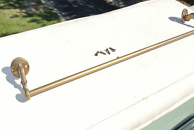 """20"""" old antique style towel rail solid brass hang wall door 2 ends rail rod"""