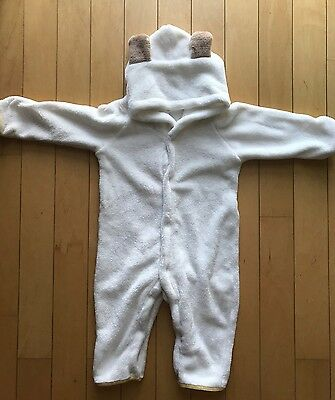 Boy Or Girl Unisex White Bear One Piece Furry Pajamas Romper Size 18-24 Months