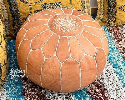 Moroccan Leather Pouf ottoman Footstool New Handmade Pouf