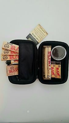 AUTHENTIC RAW Bundle King SS Rolling Paper 110mm machine Tips Lighter Hemp Case