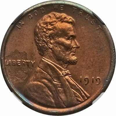 1919 1C Lincoln Penny - MINT ERROR Obverse Struck thru - NGC MS64 Red and Brown