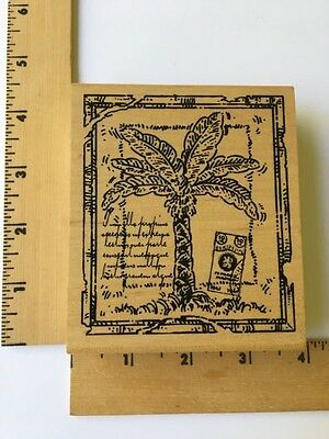 Northwoods Rubber Stamp Two Spruce Trees In Rectangle Frame Winter Snow P9628