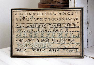 Antique 19th Century Framed Sampler Signed Mary Tufts Aged 9 Years