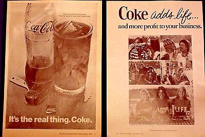 COCA-COLA Coke Magazine ADS from 1970's Lot of 2 ADS