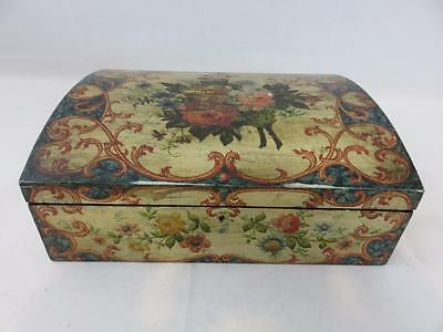 Lovely Antique WOOD BOX Hand Painted DOCUMENT DRESSER JEWELRY Flowers Roses Blue