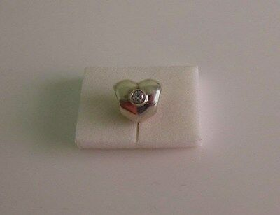 Pandora Sterling Silver Heart With Clear Cz Charm...retired 790134Cz