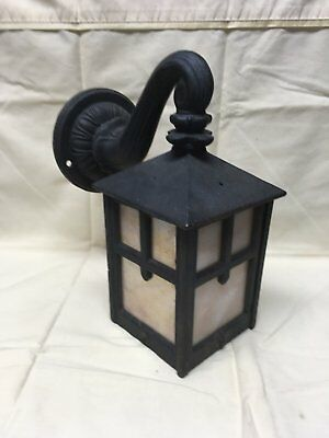 Vtg Arts Crafts Cast Iron Porch Sconce Light Fixture Caramel Slag Glass 314-17E