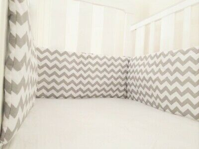 Gooseberry Baby Cot Crib Bumper Cotton Grey Chevron 210 x 30 cm
