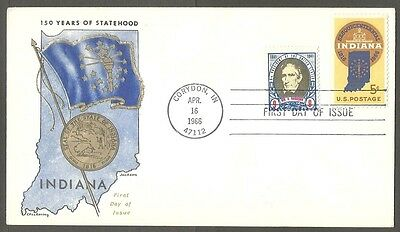 Us Fdc 1966 Indiana Statehood 5C Chickering Jackson First Day Of Issue Cover