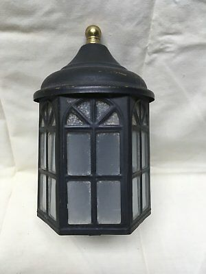 Vtg Arts Crafts Brass Porch Sconce Old Cabin Light Fixture Arch Glass 317-17E
