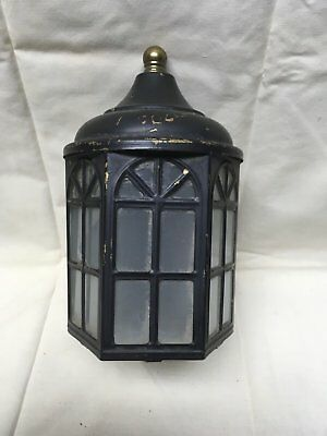 Vtg Arts Crafts Brass Porch Sconce Old Cabin Light Fixture Arch Glass 318-17E