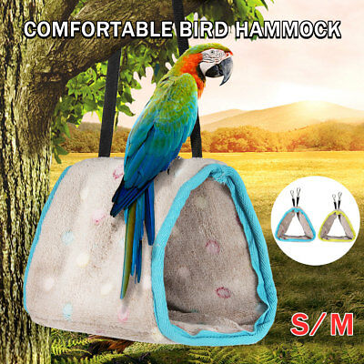 Soft Plush Bird Bed Hammock Hanging Cave Cage Snug Hut Tent  Parrot Conure Toy