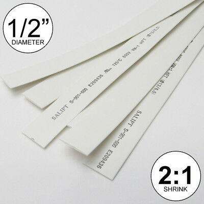 """1/2"""" ID White Heat Shrink Tube 2:1 ratio 0.5"""" wrap (6x9""""= 4ft) inch/feet/to 13mm"""