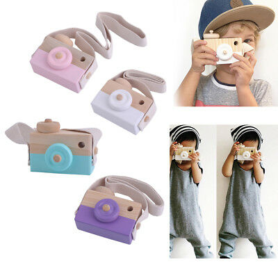 Cute Wooden Toy Camera Kids Girls Boys Creative Neck Camera Photo Props HT