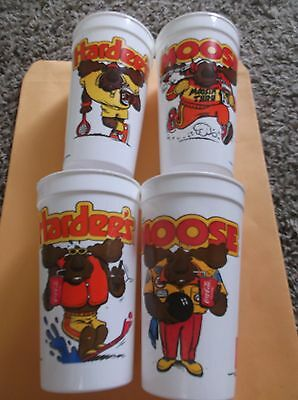 Lot of 4 Cups 2 Different 1988 Hardee's The MOOSE Summer Vacation Plastic Cup