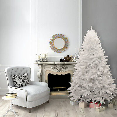 6ft Christmas Xmas Tree White Bavarian Premium Pine Hinged 1070 Tips